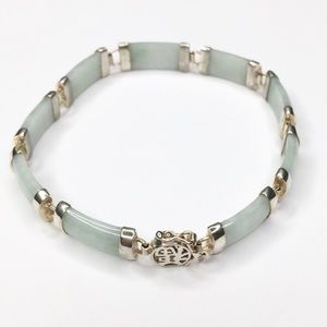 Jewelry - Vintage Jadeite and Silver Curved Link Bracelet